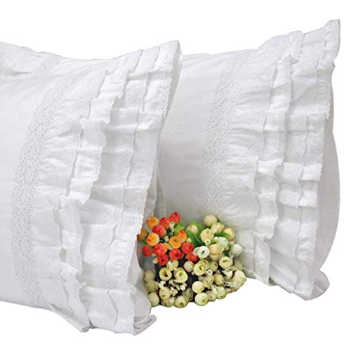SexyTown King Pillow Shams Set of 2 White Embroidery Lace Ruffle Pillow Covers-2 Piece (Style 1, 20