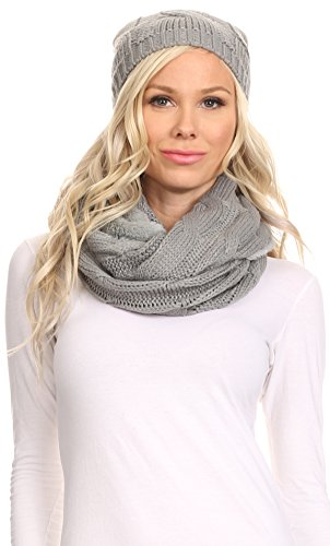 Misses Cable Knit (Sakkas 16138 - Olliey Long Wide Classic Cable Knit Fur Lined Infinity Scarf And Hat Set - Grey - OS)