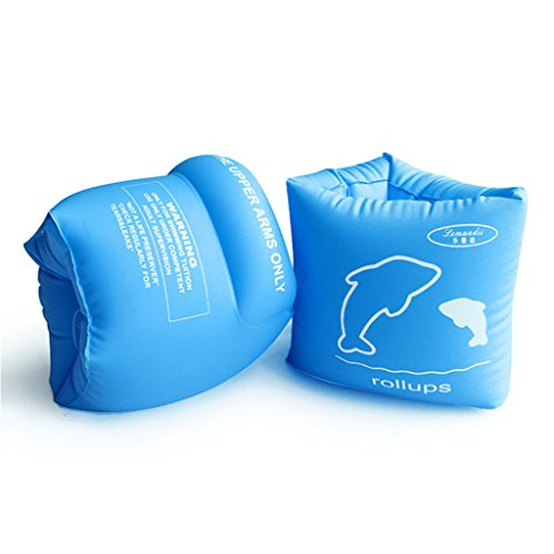 Lemandii Inflatable Arm Band Floatation Sleeves Water Wings Swimming Floats for Kids and Adults (Blue)
