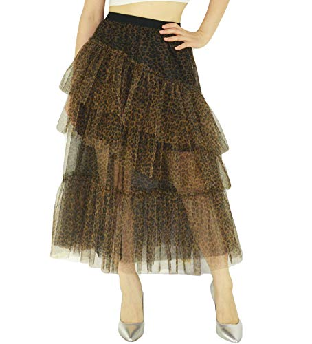 YSJERA Lady's Organza Princess Skirt Bowknot A Line Pleated Midi/Knee Length Tutu Party Skirts (S, Brown Leopard)