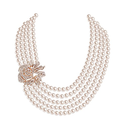 Zivyes 1920s Pearl Necklace Multi-Layer Necklace Fashion Faux Pearl Flapper Accessories Gatsby Wedding Jewelry