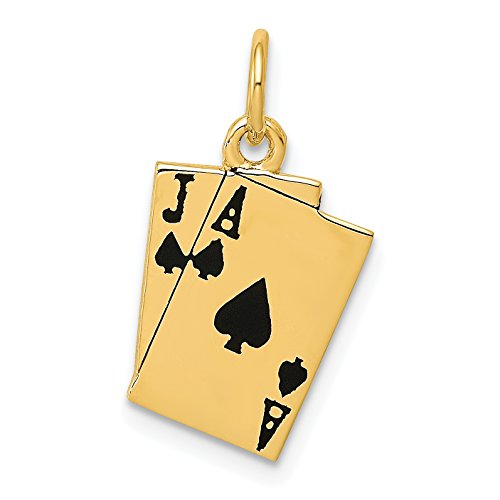 14k Yellow Gold Ace And Jack Of Spades Blackjack Playing Cards Charm 19x11mm
