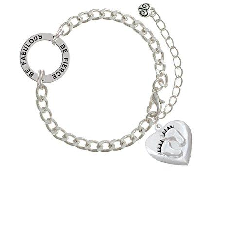 Baby Feet Heart Locket Be Fierce Be Fabulous Affirmation Link Bracelet
