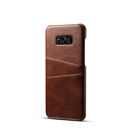 Samsung Galaxy S8 Plus Case, Wallet Phone Case Slim PU Leather Back Case Cover with Credit Card Holder for Samsung Galaxy S VIII Plus (6.2 Inch) Brown