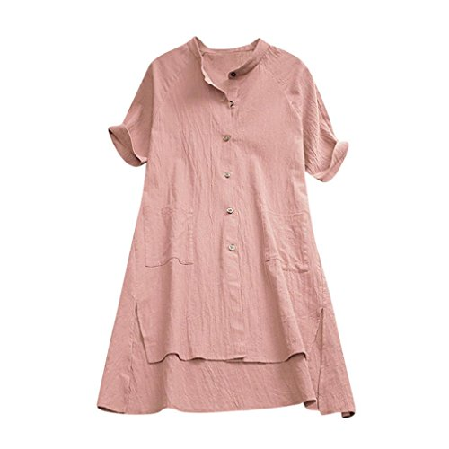 FEITONG Womens Buttons V Neck Ladies Asymmetrical Loose Tunic Tops T Shirt Mini ()