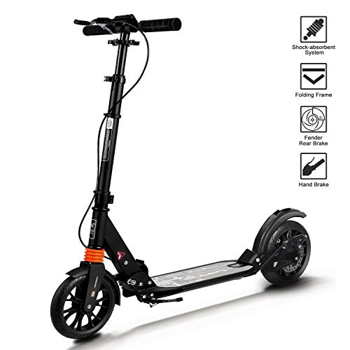 Adult Scooter 2019 Upgraded Kick Scooter Height-Adjustable Foldable Dual Suspension Rear Fender Brake Lightweight Aluminium Alloy Commuter 220lb Max Load Big Wheels Scooter for Adults Teens Kids