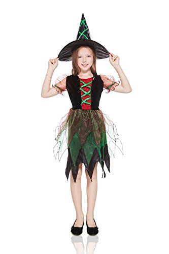 amazoncom kids girls forest witch halloween costume magic sorceress dress up role play black green red 3 6 years clothing