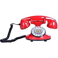 1920s Retro Vintage Classic Style Old Fashioned Rotary Dial Desk Telephone Home Office Decor,Red