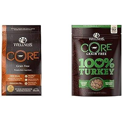 Wellness Core Natural Grain Free Dry Dog Food, Original Turkey & Chicken (4-Pound Bag) With Wellness Core 100-Percent Freeze Dried Dog Treats, Turkey (2-Ounce Bag), Variety Bundle