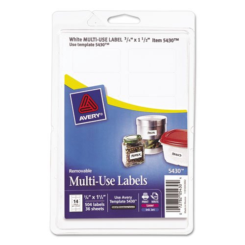 Avery 05430 Removable Multi-Use Labels, 3/4 x 1 1/2, White, 504/Pack Avery Dennison Label Templates