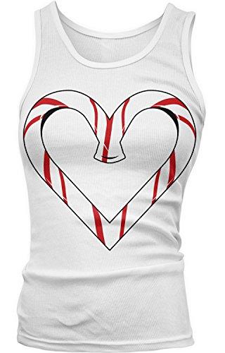 Amdesco Junior's Candy Cane Heart, Christmas Tank Top, White XL]()