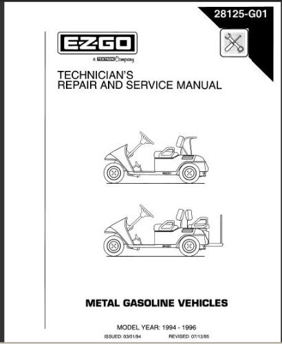 amazon com ezgo 28125g01 1994 1996 service manual for medalist rh amazon com ez go gas golf cart manual free download 2002 ez go gas golf cart manual