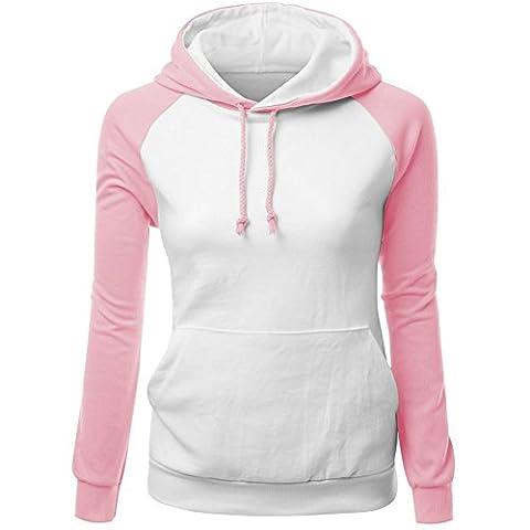 FruitNut Girls Vintage Hoodies Sport Raglan Sleeve Sweatshirt M White Pink (Last Kings Pouch)
