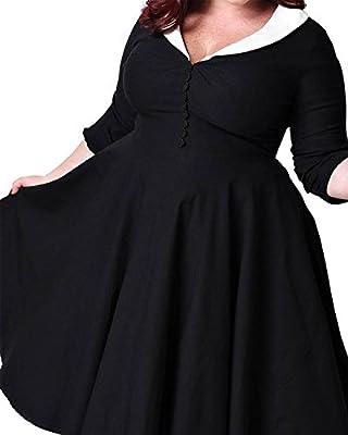 Women's Plus Size Vintage 1950s Cape Collar Swing Midi Cocktail Party Dresses