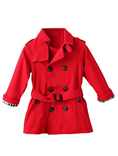 Mallimoda Girls Boys British Cotton Blend Trench Coat Jacket Double Breasted Red 4-5 Years