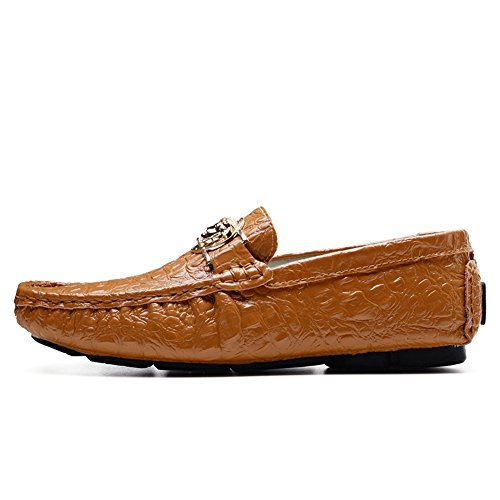 47 Color de de cocodrilo de el tamaño EU Hombres Negocios Zapatos Plano hasta Vamp impresión shoes mocasín Casuales los Ocio Moda tamaño Marrón talón Xiaojuan Marrón 41 vE71xwRgq