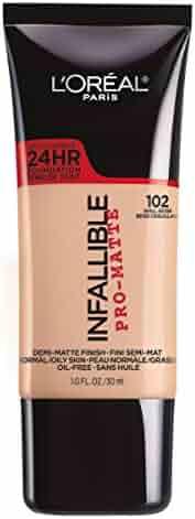 L'Oréal Paris Infallible Pro-Matte Liquid Longwear Foundation Makeup, 102 Shell Beige, 1 fl. oz.