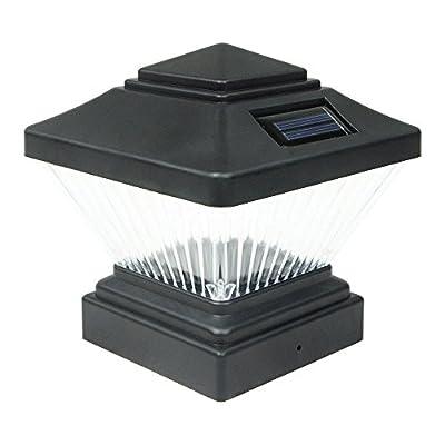 Commart 8 Black Outdoor Garden Solar LED Post Deck Cap Square Fence Light Landscape Lamp