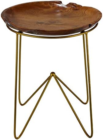 Bare Decor Paolo End Table with Teak Wood Top with Gold Finish Metal Legs
