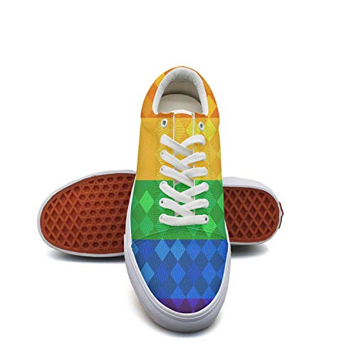Leaflet Canvas - fvnoui LadyRainbow Flag Gay Pride LGBT Leaflet Canvas Shoes Low-Cut Straps Leisure Sneakers Suitable for Walking
