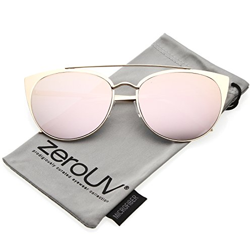 zeroUV - Women's Oversize Metal Cat Eye Sunglasses With Crossbar And Mirrored Flat Lens 61mm (Matte Gold / Pink - Lenses Contact Sunglass