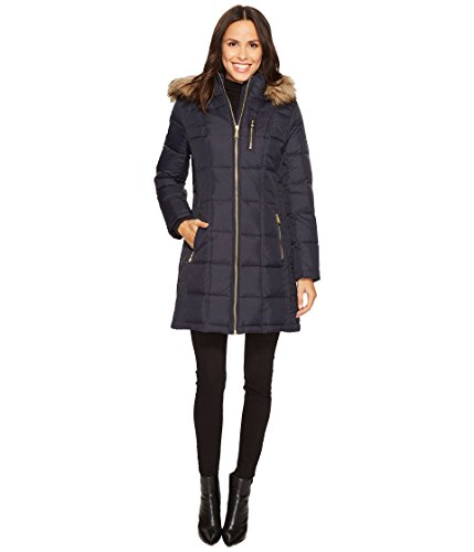 Michael Michael Kors Womens Zip Front Down with Faux Fur Trim Hood M821883T New Navy LG One Size (Mk Down Jacket For Women)