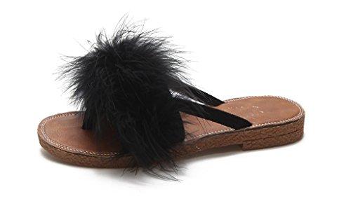 Femelle Semelle Flops prape black Sandales des Plate Flip été Poilu Chaussons pxtq6tU5