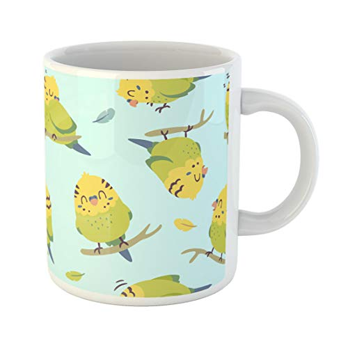 Semtomn Funny Coffee Mug Blue Adorable Cartoon Budgie Parrot Colorful Animal Baby Beak 11 Oz Ceramic Coffee Mugs Tea Cup Best Gift Or Souvenir]()