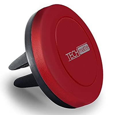 TechMatte MagGrip Air Vent Magnetic Universal Car Mount Holder for Smartphones including iPhone X, 8, 7, 6, 6S, Galaxy S8, S7, S7 Edge - Red