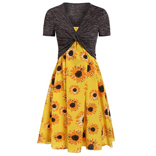 TUSANG Women Skirt Fashion Solid Short Sleeve Top Butterfly Printed Camis Dress Suits Slim Fit Comfy Dress(Z-Yellow,Z-Yellow)