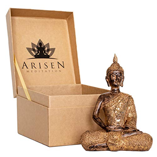 Thai Meditation Buddha Statue Small 8 Inch | Premium in Gift Box - Buddha Statues for Home. Rustic Bronze Look Buddha Statues for Meditation Gift