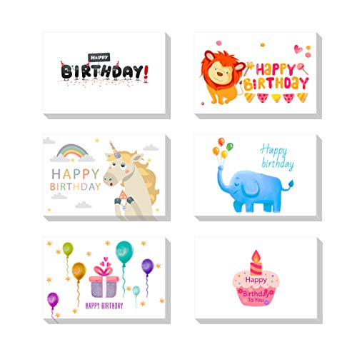 Happy Birthday Greetings Cards,6 Handwritten Modern Style Colorful Designs Paper Greetings Birthday Card Bulk Box Set Variety Assortment With Envelopes & Glues 4 x 6 Inches 12 Pack ()