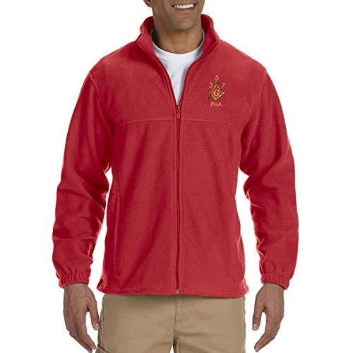 Prince Hall 3 5 7 Embroidered Masonic Men's Fleece Full-Zip Jacket - [Red][XXX-Large]