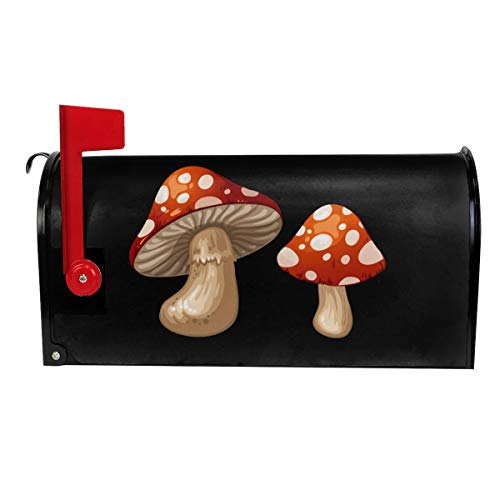 VIVIAN RICE Vinyl Magnetic Mailbox Cover Mushrooms Wraps Post Letter Box Covers Garden Decor,Standard Size