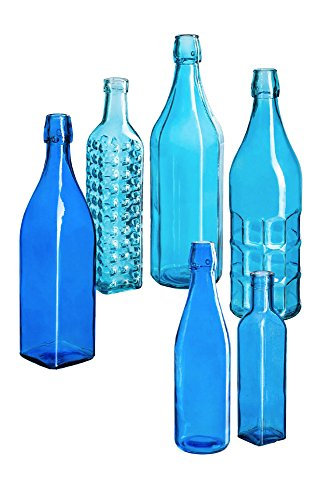 Evergreen Garden Bottle Set for Bottle Tree Garden Décor (Brilliant Blue Bottles, Set of 6) - Bottles Only