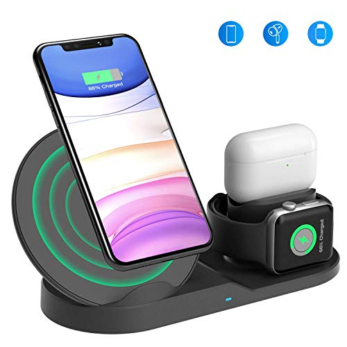 Wireless Charging Stand, Wireless 3 in 1 Charging Station Compatible with iPhone/Airpods/Watch 5 4 3 2 1, Charging Dock for iPhone 11/11 pro/11 Pro Max/Xs/XS Max/XR/X/8/8P