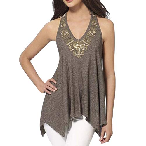 (Tantisy ♣↭♣ Women Plus Size Sleeveless V-Neck Halter Blouse Summer Casual Sequins Hem Design Loose T Shirt 3XL Khaki)