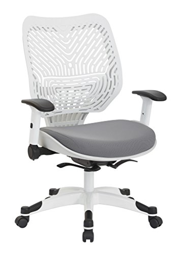 SPACE Seating Pulsar Self Adjusting SpaceFlex White Backrest Support and Padded Mesh Seat with Height Adjustable Flip Arms and Coated Nylon Base Managers Chair, Steel