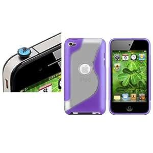 Morado S TPU Funda Light Azul DIAMANTE Anti Polvo Tapa Para iPod Touch 4G