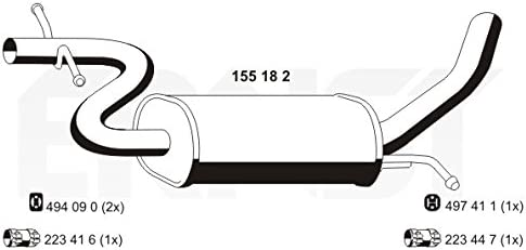 Mittelschalld/ämpfer Auspuff Mitteltopf original ERNST 155182 L/änge 1040mm