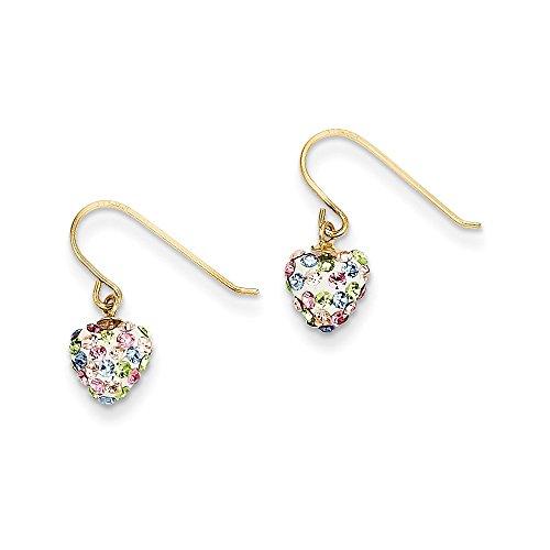14K Gold Pastel Multi-colored Crystal Heart Dangle Earrings (0.63 in x 0.28 in)