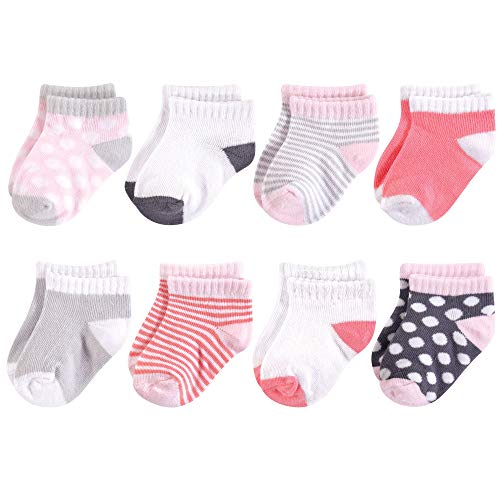 Luvable Friends Baby Basic Socks, Gray Pink Dot 8Pk, 12-24 Months