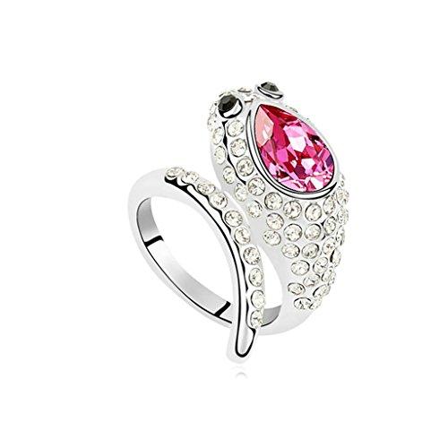 Daesar Womens Ring Gold Plated Snake Cubic Zirconia Engagement Ring CZ Bridal Ring Size - 5dollar Fashion