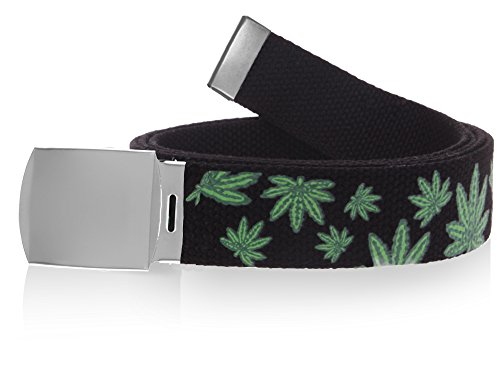 Nice-Shades-56-Military-Style-Canvas-Web-Belt-w-Silver-Roller-Buckle-Marijuana