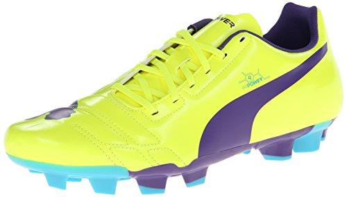 Puma Mens Evopower 4 Stevig-grond Voetbalschoen Fluro Geel / Prisma Violet / Scuba Blauw