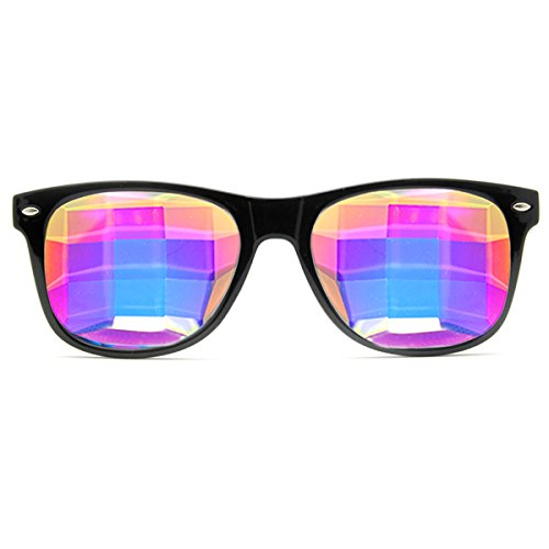 GloFX Bug Eye Ultimate Kaleidoscope Glasses (Black, Bug Eye Lens) - Rave Rainbow EDM - Sunglasses Bug Eye Mens