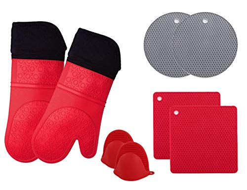 (Jeater Silicone Oven Mitts and Potholders (8-Piece Sets) Advanced Heat Resistant Oven Mitt Kitchen Counter Safe Mats Non-Slip Textured Grip Pot Holders(Red))