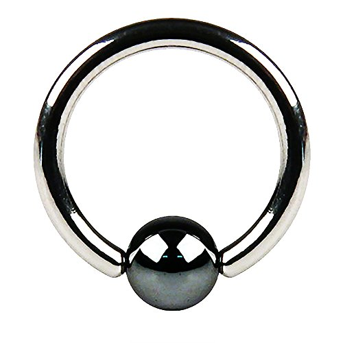 Fifth Cue Hematite Plated Captive Bead Ring 316L Surgical Surgical Steel (14GA (1.6mm) | 3/8