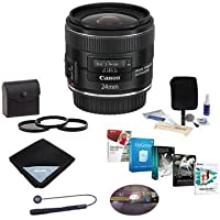 Canon EF 24mm f/2.8 IS USM Lens - U.S.A. - Bundle with Pro Optic 58mm Filter Kit (UV/CPL/ND2), Lens Cap Leash, Professional Lens Cleaning Kit, Lens Wrap (15x15), Professional Software Package