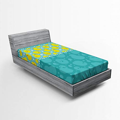 Ambesonne Rubber Duck Fitted Sheet, Yellow Cartoon Duckies Swimming in Water Pattern with Fun Bubbles Aqua Colors, Soft Decorative Fabric Bedding All-Round Elastic Pocket, Twin Size, Teal Yellow (Duck Sheets)